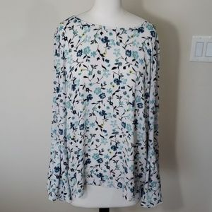 Loft floral blue/white bell sleeve  blouse sz L